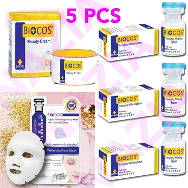 Biocos Whitening Cream With 3 Serums and 1 Whitening Mask